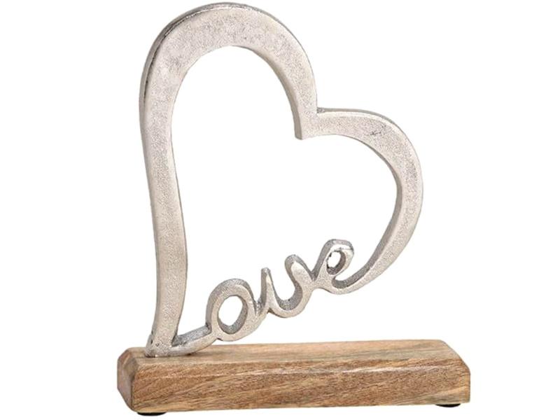 Deko Figur Herz mit Schriftzug Love auf Sockel aus Holz (Silber-Braun) B18cm x H20cm x T5cm
