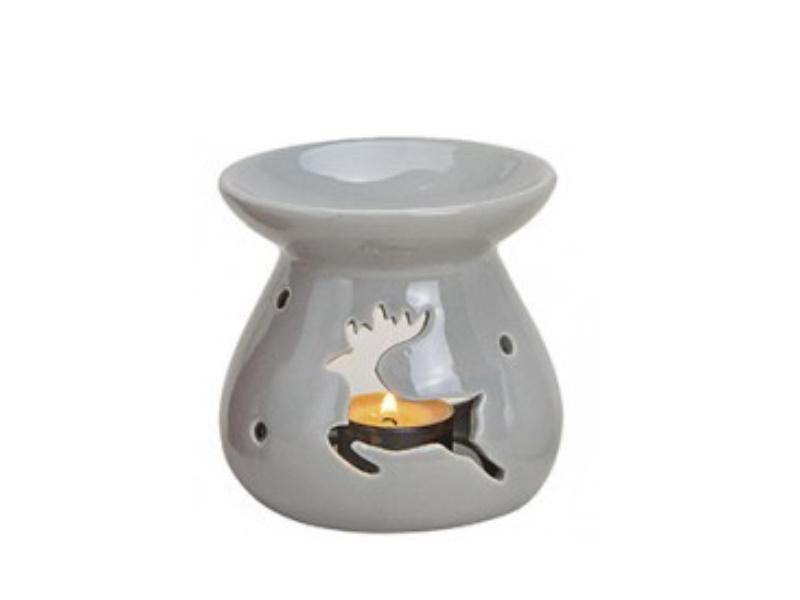 """Duftlampe """"emma"""" mit Elch für Duftöl (grau) Ø10 x H10cm"""