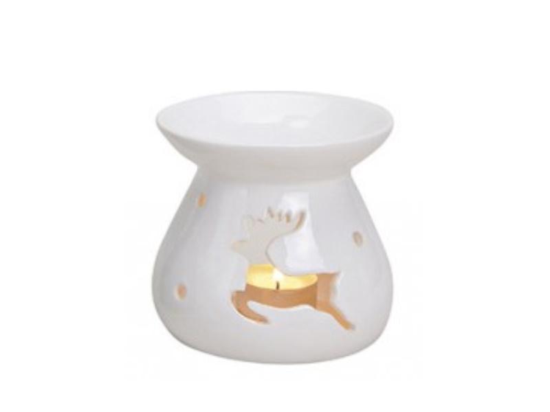 """Duftlampe """"emma"""" mit Elch  für Duftöl (weiss) Ø10 x H10cm"""