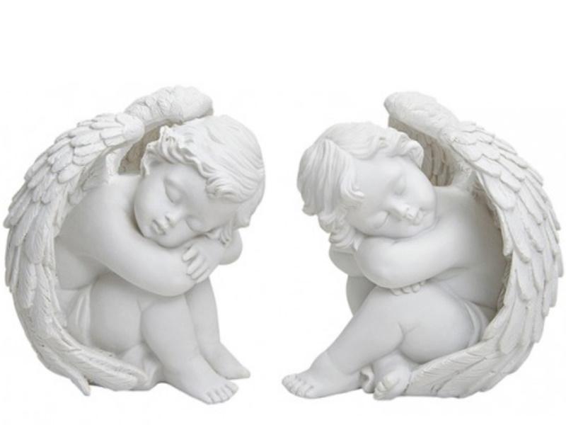2er-Set ruhende Engel mit Flügel aus Poly 2-fach sortiert (weiss)