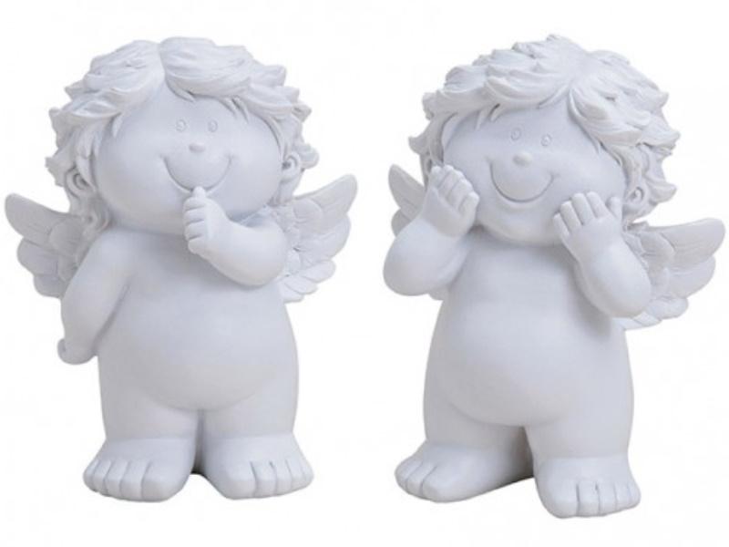 2er-Set süße Baby-Engel aus Poly 2-fach sortiert (weiss)