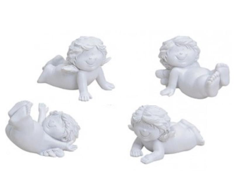 4er-Set süße Baby-Engel aus Poly 4-fach sortiert (weiss)
