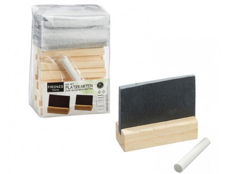 6er-Set Platzkarten Tischschilder aus Schiefer mit Holzsockel (schwarz)