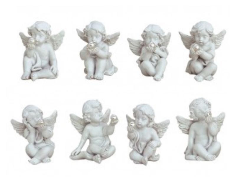 8er-Set Engel mit Perle sitzend aus Poly 8-fach sortiert (weiss)