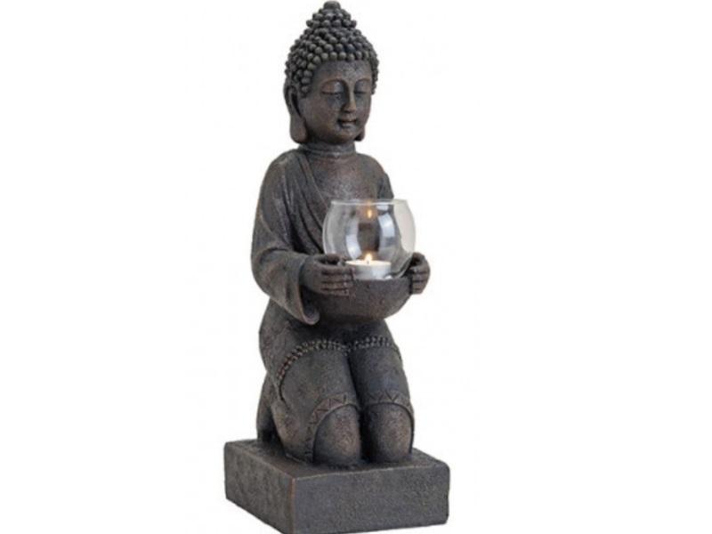 Deko Figur Buddha stehend mit Teelichthalter aus Poly braun B15xH43xT16cm