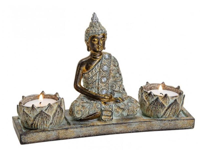 Buddha mit 2 Teelichthalter aus Poly grau/braun B20xH13xT6cm