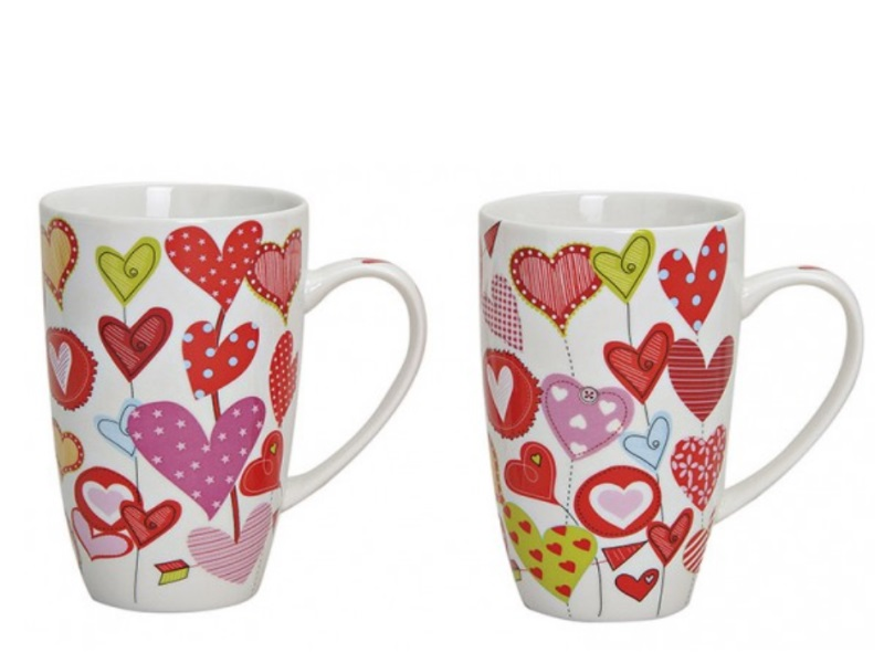 2 Tassen Becher aus Porzellan Herzdekor rosa/rot/weiss sortiert 380ml Höhe 13cm