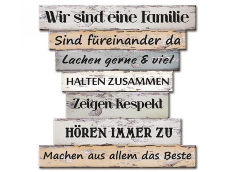 "Wandbild ""Familien Regeln"" aus Holz B30xH32cm"