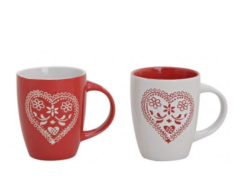 2 Tassen Becher aus Keramik Herzdekor rot/weiss sortiert 250ml Höhe 10cm