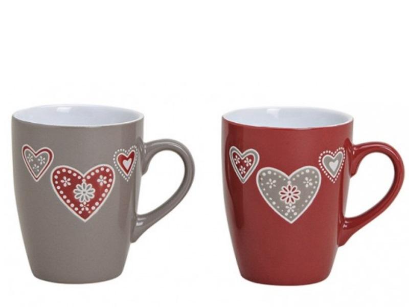 2 Tassen Becher aus Keramik Herzdekor rot/grau sortiert 250ml Höhe 10cm