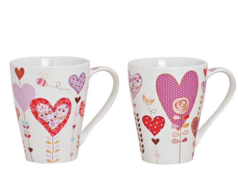 2 Tassen Becher aus Porzellan Herzdekor rosa/rot/weiss sortiert 300ml Höhe 11cm