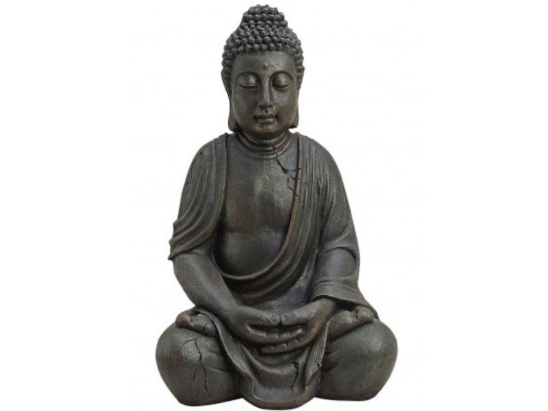 Deko Figur Buddha sitzend aus Poly braun antik Höhe 50cm