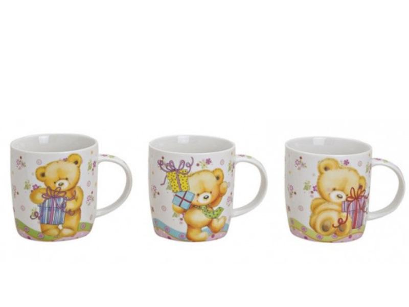 3 Tassen Becher aus Porzellan mit süßen Bären bunt sortiert 300ml Höhe 9cm
