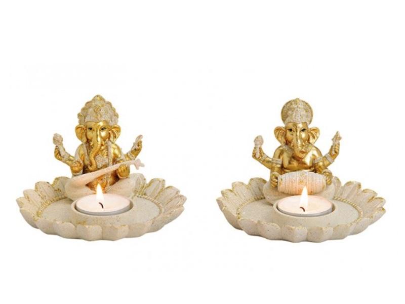2er Set Teelichthalter Ganesha auf Lotusblüte aus Poly beige/gold Ø12xH8cm