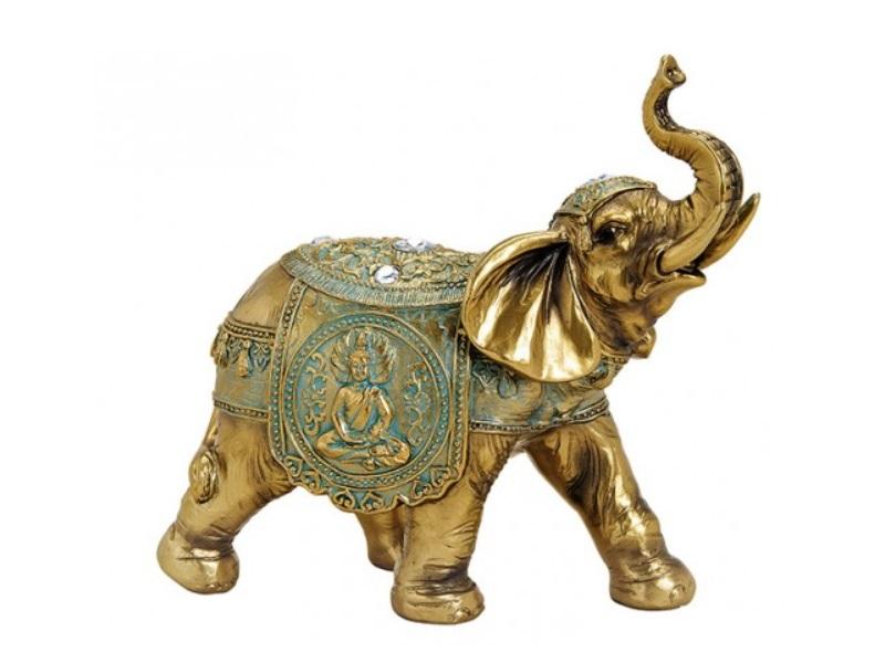 Deko-Figur Elefant aus Poly grün/gold B21xH20xT10cm
