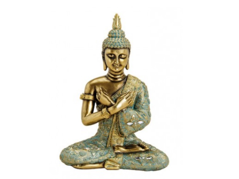 Deko-Figur Buddha sitzend aus Poly grün/gold B23xH33xT14cm