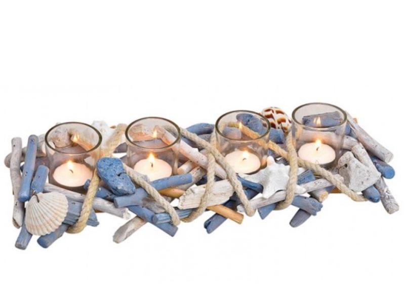 4er Teelichthalter  Maritim mit Muscheln in Treibholzoptik blau B40xH8xT14cm