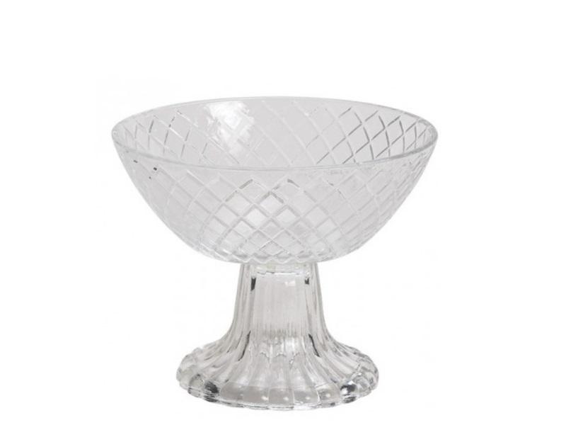 2er Set Eisbecher Dessertschale mit Rautenmuster aus Glas Ø12xH11cm