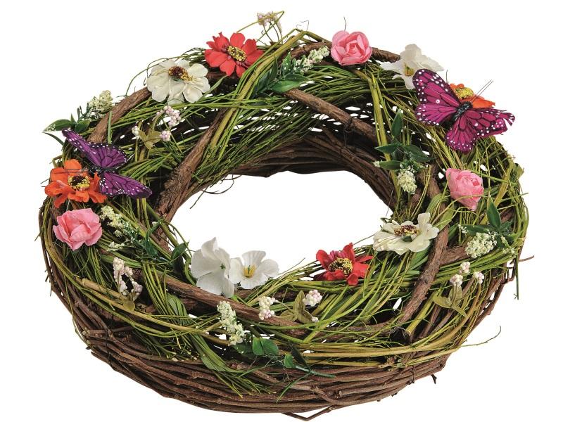 Deko Kranz mit Blüten und Schmetterlinge aus Holz und Kunststoff Ø30xH8cm