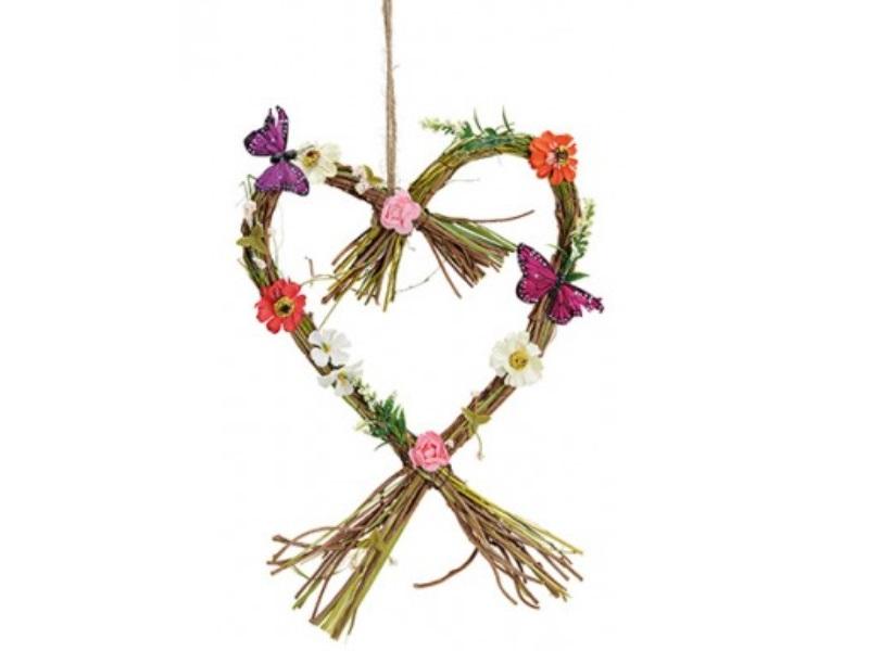 Herz aus Ästen mit Schmetterlinge und Blüten (Kunstblumen) bunt B25xH35xT4cm