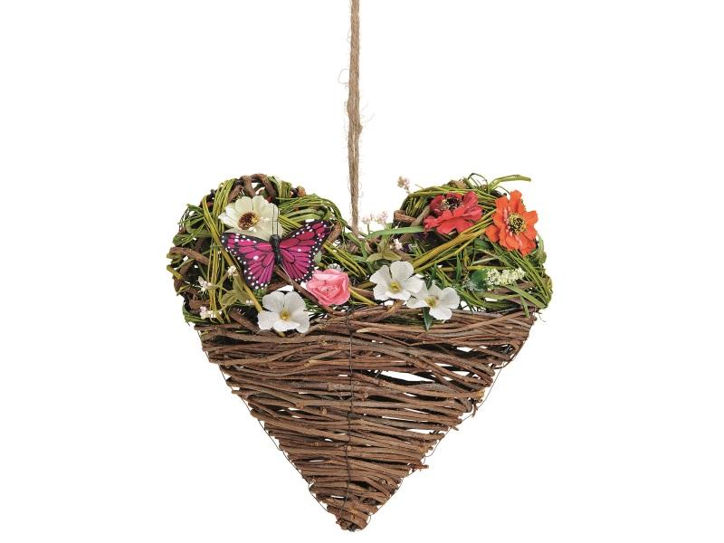 Herz aus Ästen mit Schmetterling und Blüten (Kunstblumen) bunt B25xH25xT8cm