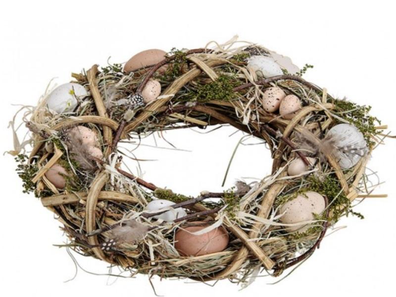 Osterkranz Deko Kranz aus Holz mit Eier aus Kunststoff Ø31xH8cm