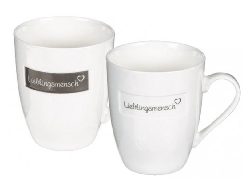 """2 Tassen Becher aus Porzellan """"Lieblingsmensch"""" weiss sortiert 300ml Ø8xH10cm"""