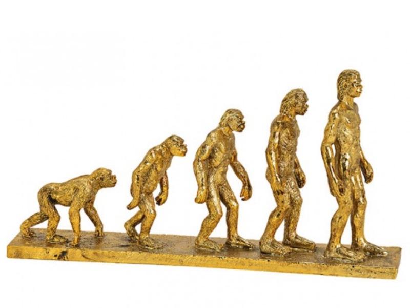"Aufsteller Deko Figur ""Human Evalution"" aus Poly gold B33xH17xT5cm"