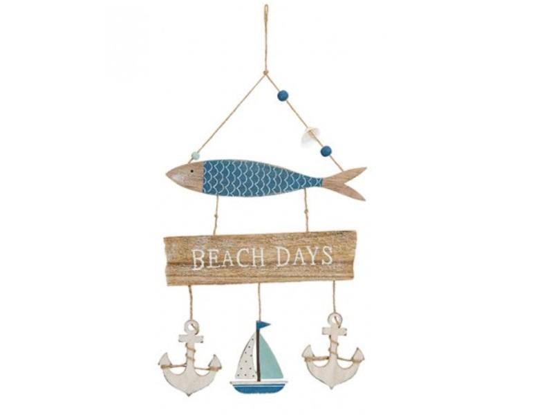 """Deko Hänger Maritim mit Fisch """"Beach Days"""" aus Holz blau B22xH30xT1cm"""