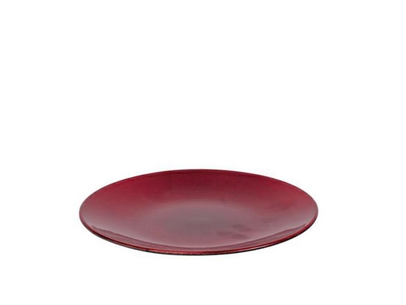 Deko-Teller aus Plastik -  Metallic rot Ø22xHöhe2cm