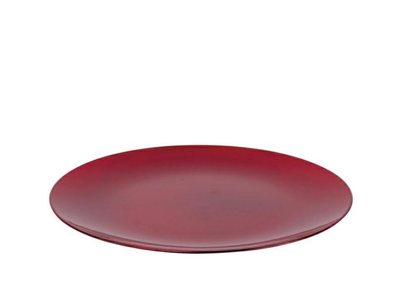 Deko-Teller aus Plastik -  Metallic rot Ø33xHöhe2cm