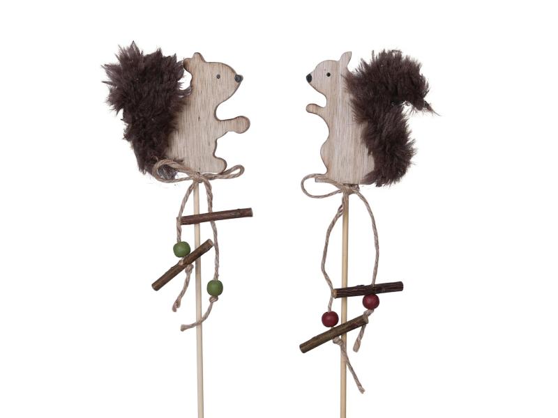 6 Dekostecker – Eichhörnchen aus Holz am Stab 2fach - braun H7/L35cm