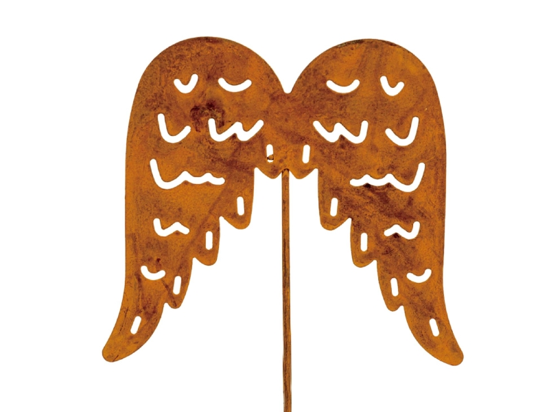6 Dekostecker – Beetstecker Flügel aus Metall - rost H7/L26cm