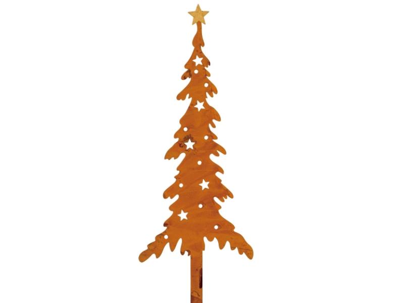 3 Dekostecker – Beetstecker Baum Tanne aus Metall - rost H11/L35cm