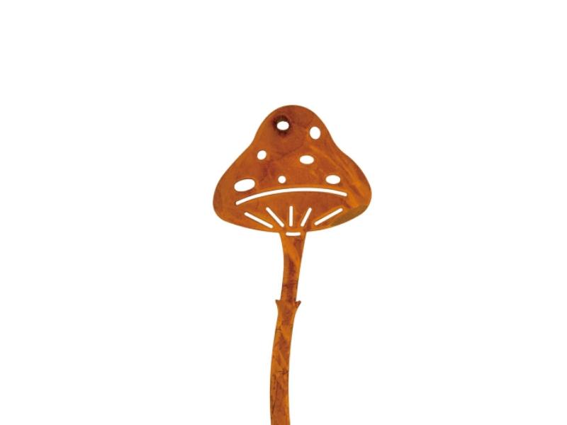 3 Dekostecker – Beetstecker Pilz aus Metall - rost H7,5/L23cm
