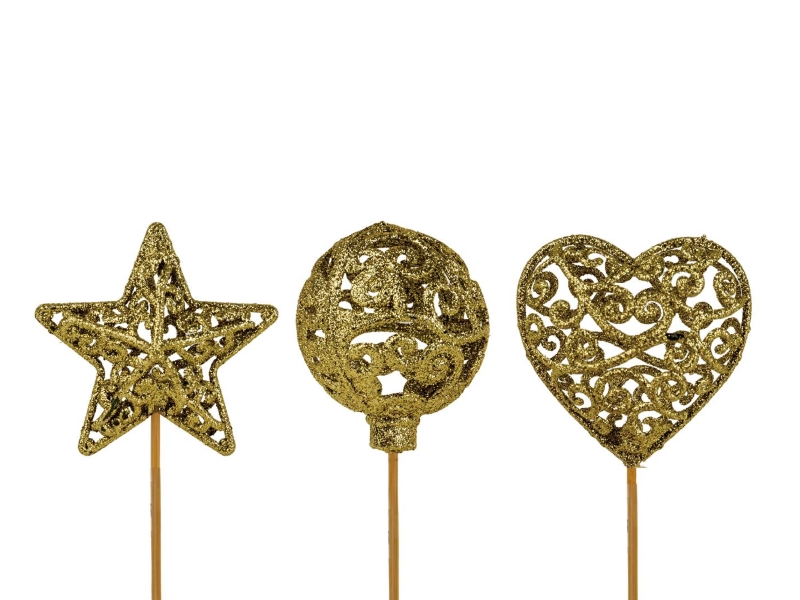 "10 Dekostecker – Herz Kugel Stern ""Ornament"" am Stab gold Ø6xL26cm"