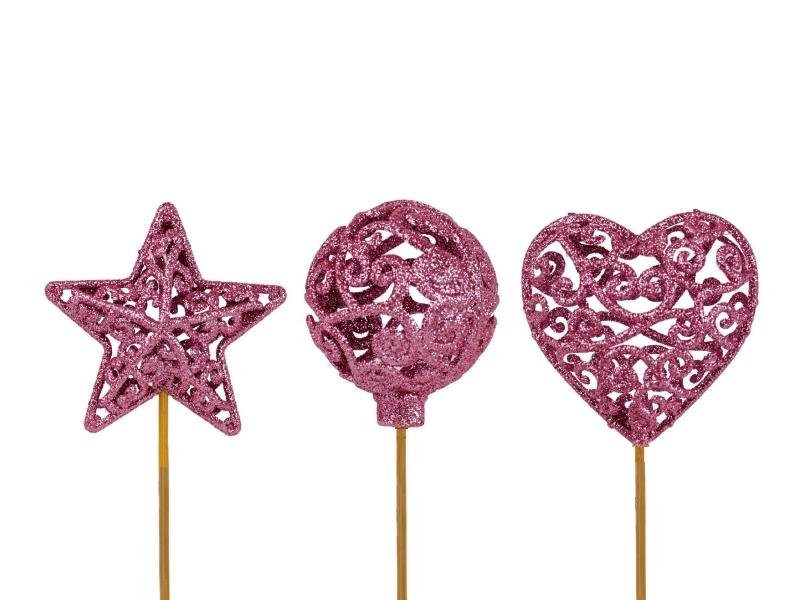 "10 Dekostecker – Herz Kugel Stern ""Ornament"" am Stab rosa Ø6xL26cm"
