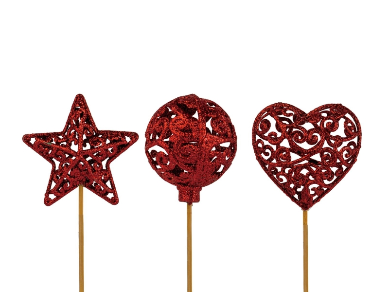 """10 Dekostecker – Herz Kugel Stern """"Ornament"""" am Stab rot Ø6xL26cm"""