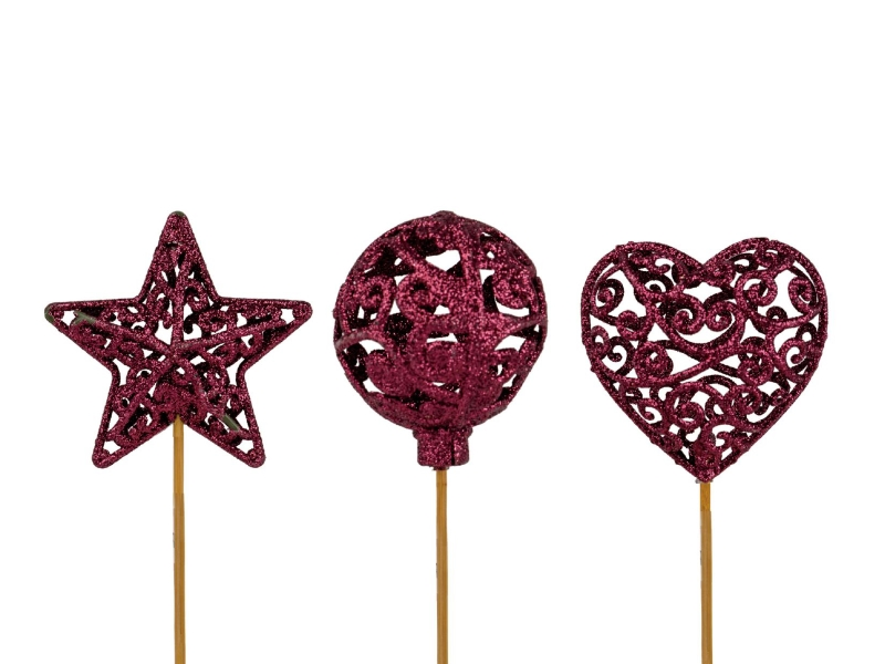 "10 Dekostecker – Herz Kugel Stern ""Ornament"" am Stab lila Ø6xL26cm"