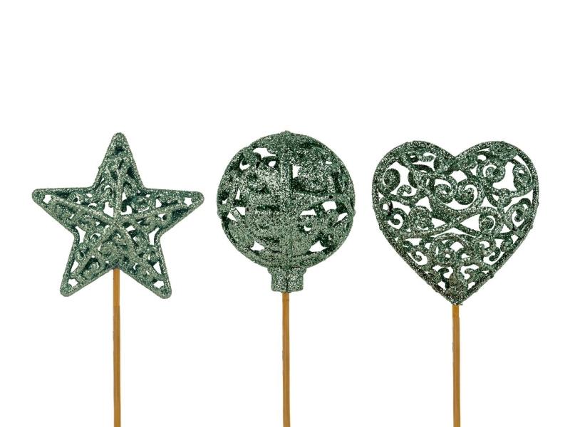 """10 Dekostecker – Herz Kugel Stern """"Ornament"""" am Stab grün Ø6xL26cm"""