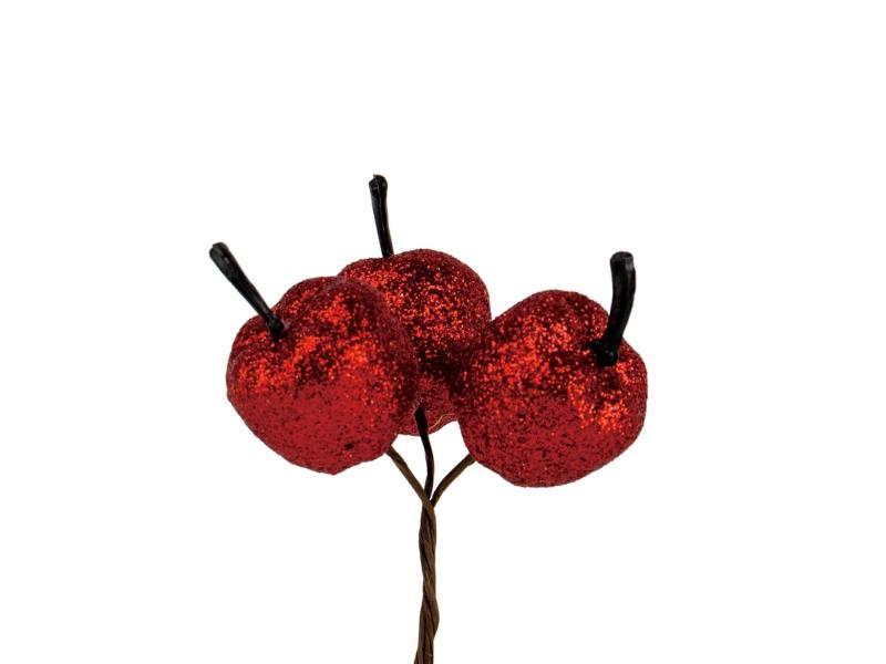 10 Dekostecker – Apfel im 3er Bund am Draht – Rot Ø2xL22cm