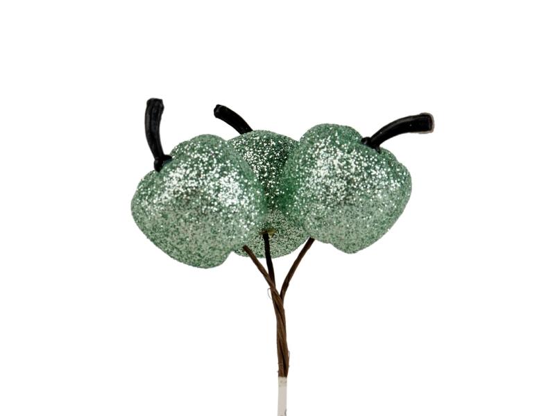 10 Dekostecker – Apfel im 3er Bund am Draht – grün Ø2xL22cm