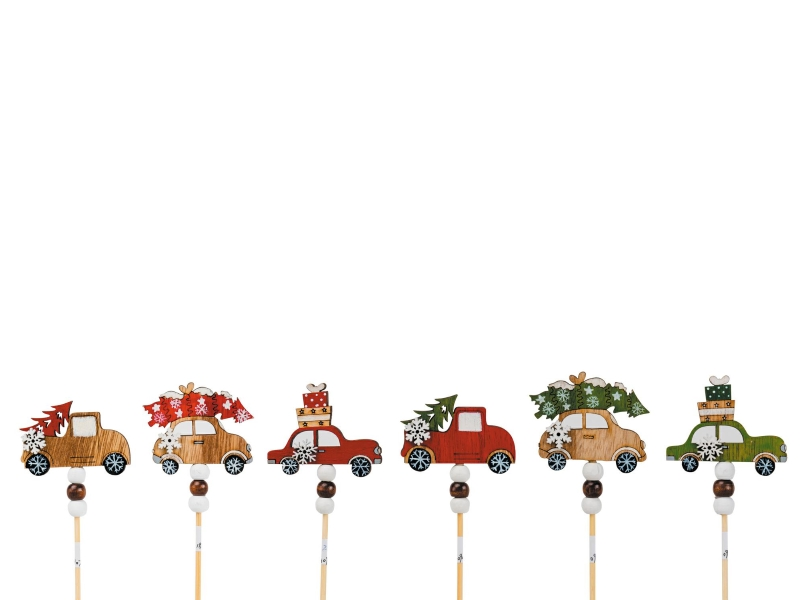 6 Dekostecker – Auto Holz am Stab bunt Ø6,5xL28cm