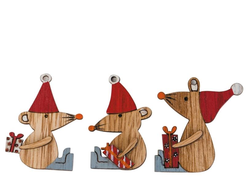 24 Mäuse aus Holz zum streuen - rot B3xH4,5xT0,6cm