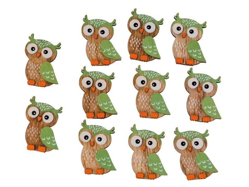 12 Eulen aus Holz zum streuen - grün B4xH5,5cm